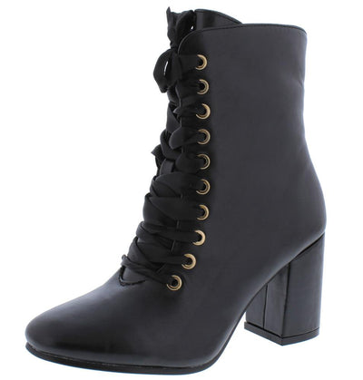 Asusana2 Black Lace Up Chunky Heel Boot - Wholesale Fashion Shoes