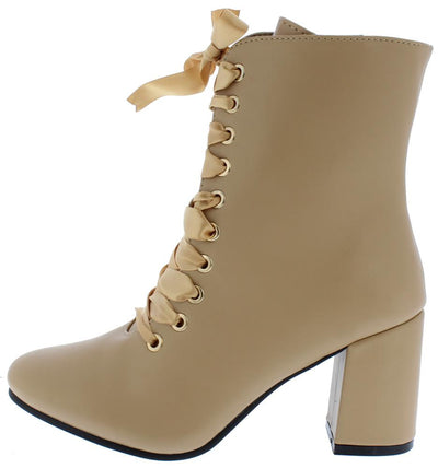Asusana2 Nude Pu Lace Up Chunky Heel Boot - Wholesale Fashion Shoes