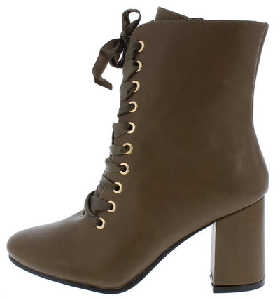 Asusana2 Olive Pu Lace Up Chunky Heel Boot - Wholesale Fashion Shoes