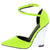 Maribel269 Neon Yellow Pointed Toe Ankle Wrap Strap Lucite Heel