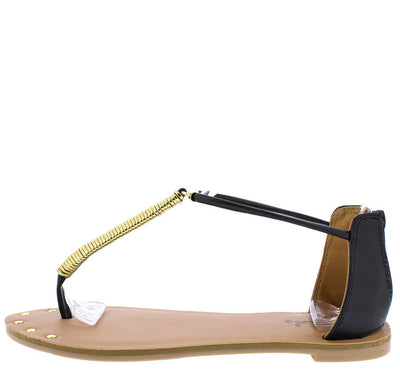 Athena1044axx Black Pu Gold Stud Thong Sandal - Wholesale Fashion Shoes