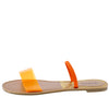 Athena1209ax Orange Dual Strap Lucite Flat Slide Sandal - Wholesale Fashion Shoes