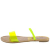 Athena1209ax Yellow Dual Strap Lucite Flat Slide Sandal - Wholesale Fashion Shoes