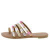 Athena1222 Nude Multi Strap Open Toe Flat Slide Sandal - Wholesale Fashion Shoes