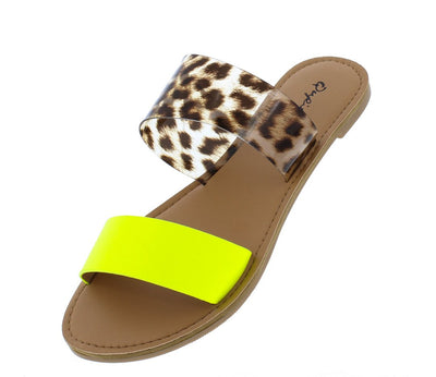 Athena1459ax Neon Yellow Pu Women's Sandal - Wholesale Fashion Shoes