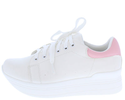 Athena2 White Mauve Two Tone Lace Up Tapered Sneaker Flat - Wholesale Fashion Shoes