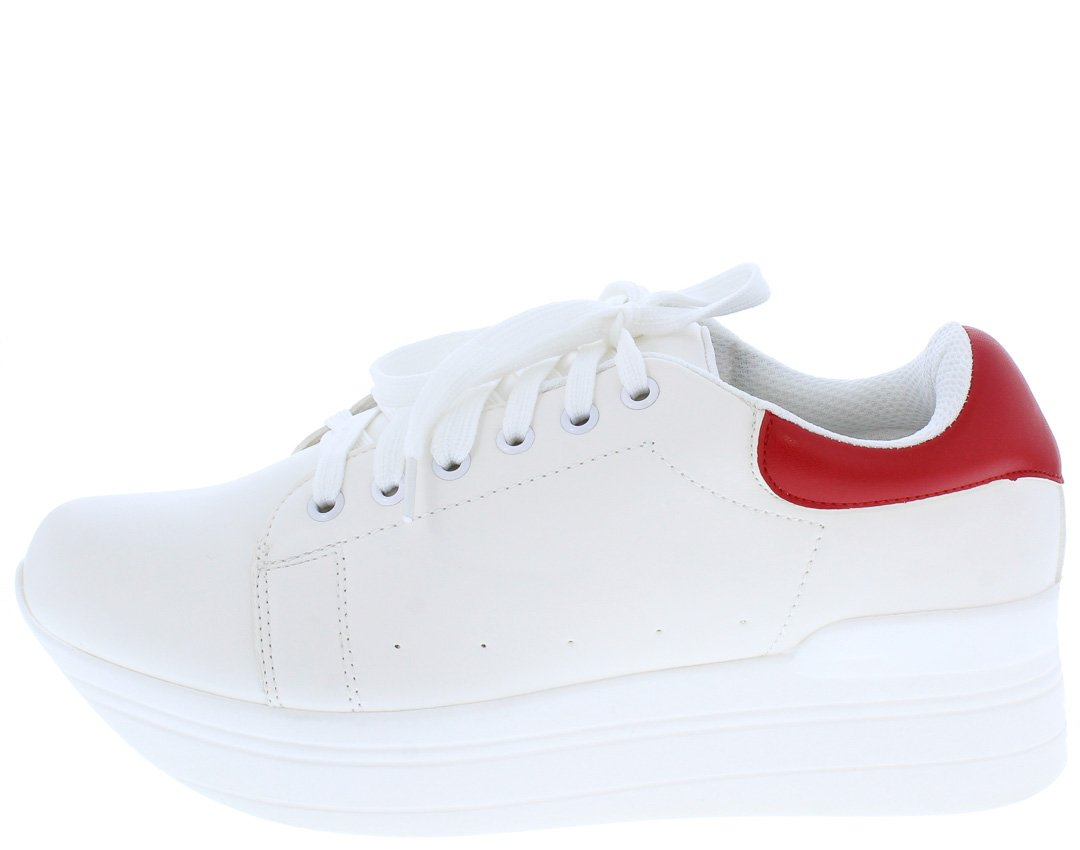 520586d65c6 Athena2 White Red Two Tone Lace Up Tapered Sneaker Flat Only  10.88. - Wholesale  Fashion Shoes