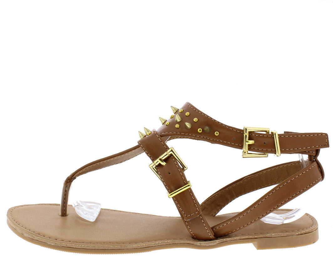 4e089f5777d Athena618a Rust Gold Spike Stud Buckle Thong Sandal - Wholesale Fashion  Shoes