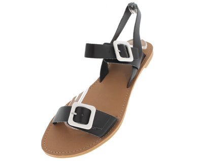Athena751 Black Pu Roman Sandal - Wholesale Fashion Shoes