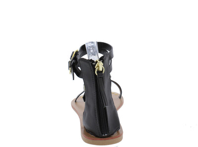Athena949 Black Studded Gladiator Flat Sandal - Wholesale Fashion Shoes