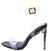 Atlanta Black Open Toe Ankle Strap Camo Lucite Heel