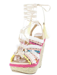 HENRY084 NUDE MULTI WOMEN'S WEDGE - Wholesale Fashion Shoes