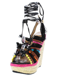 HENRY084 BLACK MULTI WOMEN'S WEDGE - Wholesale Fashion Shoes