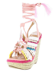 HENRY084 PINK MULTI WOMEN'S WEDGE - Wholesale Fashion Shoes