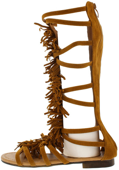 Atta20 Tan Fringe Gladiator Mid Calf Boot - Wholesale Fashion Shoes