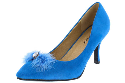 Aubree22 Blue Rhinestone Pom Pom Pointed Toe Pump Heel - Wholesale Fashion Shoes