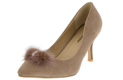 Aubree22 Taupe Rhinestone Pom Pom Pointed Toe Pump Heel - Wholesale Fashion Shoes