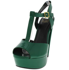 AUDIT GREEN PATENT PEEP TOE T-STRAP HEEL - Wholesale Fashion Shoes