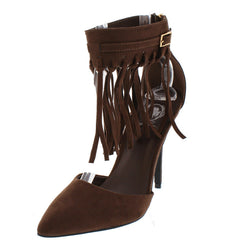 AUDREY10 BROWN FRINGE ANKLE STRAP POINTED HEEL - Wholesale Fashion Shoes