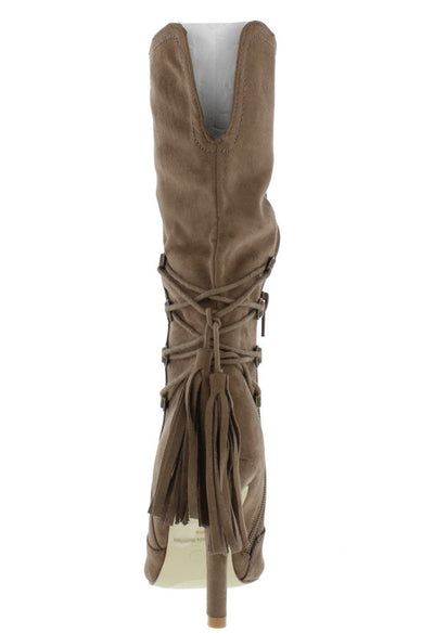 Audrey3 Taupe Pointed Toe Lace Up Tassel Plunge Boot - Wholesale Fashion Shoes