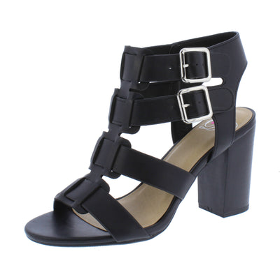 Aunt Black Pu Strappy Open Toe Stacked Block Heel - Wholesale Fashion Shoes