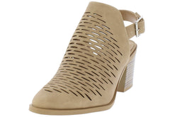 AUSTIN CAMEL PU LASER CUT STACKED SHORT HEEL - Wholesale Fashion Shoes