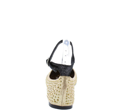 Ava06 Gold Rhinestone Ankle Strap Flat - Wholesale Fashion Shoes