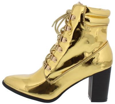 Sarah265 Gold Mirror Almond Toe Lace Up Ankle Boot - Wholesale Fashion Shoes