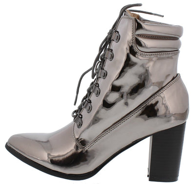 Sarah265 Gunmetal Almond Toe Lace Up Ankle Boot - Wholesale Fashion Shoes