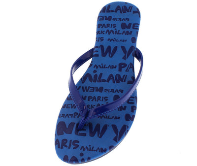 Ava Blue Cities Print Flip Flop Sandal - Wholesale Fashion Shoes