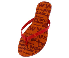 Ava Red Cities Print Flip Flop Sandal - Wholesale Fashion Shoes