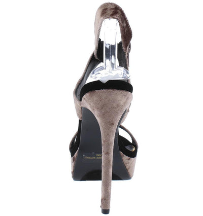 Avalon192 Mauve Gold Shimmer Cross Strap Platform Heel - Wholesale Fashion Shoes