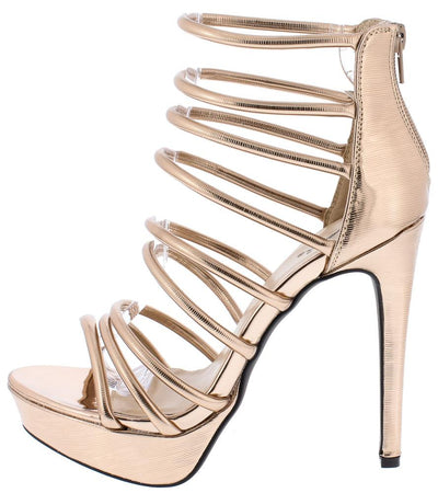 Avalon227 Rose Gold Strappy Platform Stiletto Heel - Wholesale Fashion Shoes