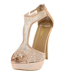 AVENUE8 ROSE GOLD RHINESTONE T-STRAP HEEL - Wholesale Fashion Shoes