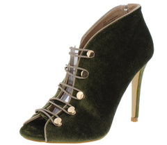 Avery01 Olive Peep Toe Two Tone Button Strap Ankle Heel - Wholesale Fashion Shoes