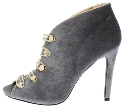 Avery01 Grey Peep Toe Two Tone Button Strap Ankle Heel - Wholesale Fashion Shoes
