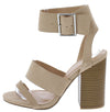 Avila02 Natural Open Toe Cut Out Ankle Buckle Block Heel - Wholesale Fashion Shoes