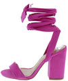 Avila16 Orchid Open Toe Ankle Wrap Chunky Heel - Wholesale Fashion Shoes