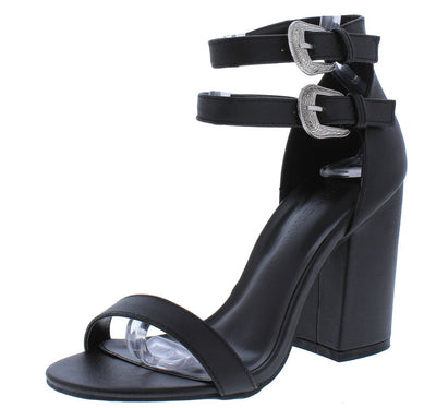 Avila32 Black Open Toe Dual Buckle Strap Tall Chunky Heel - Wholesale Fashion Shoes