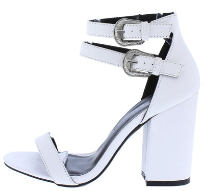Avila32 White Open Toe Dual Buckle Strap Tall Chunky Heel - Wholesale Fashion Shoes