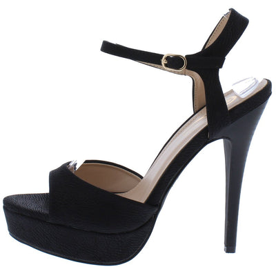 Avisa8 Black Pointed Peep Toe Ankle Strap Platform Stiletto Heel - Wholesale Fashion Shoes