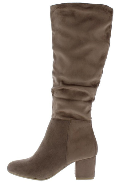 Avita03 Taupe Almond Toe Chunky Heel Boot - Wholesale Fashion Shoes