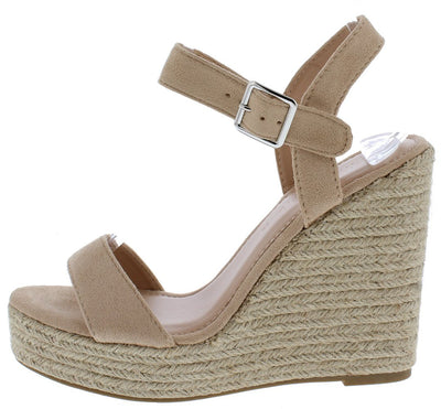 Ayla13 Natural Open Toe Slingback Ankle Strap Espadrille Wedge - Wholesale Fashion Shoes