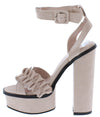 Azalia01 Nude Ruffle Cross Strap Open Toe Platform Heel - Wholesale Fashion Shoes