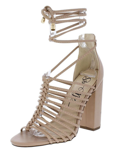 Azul Nude Strappy Open Toe Ankle Wrap Chunky Heel - Wholesale Fashion Shoes