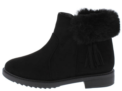Penelope250 Black Fringe Faux Fur Lug Sole Ankle Boot - Wholesale Fashion Shoes
