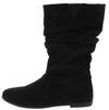 Alonddra168 Black Almond Toe Pull On Boot - Wholesale Fashion Shoes