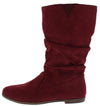 Alonddra168 Khaki Maroon Almond Toe Pull On Boot - Wholesale Fashion Shoes
