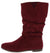 Alonddra168 Khaki Maroon Almond Toe Pull On Boot