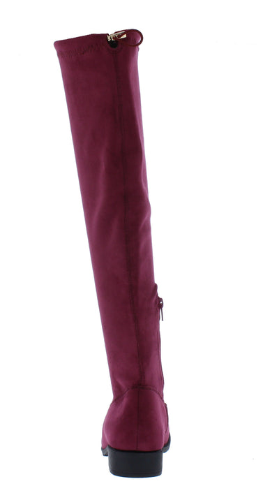 Serena8h Maroon Drawstring Knee High Boot - Wholesale Fashion Shoes